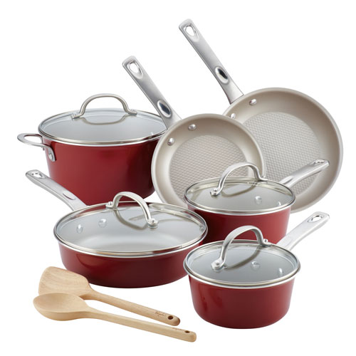 Home Collection Sienna Red Porcelain Enamel Nonstick 12-Piece Cookware Set