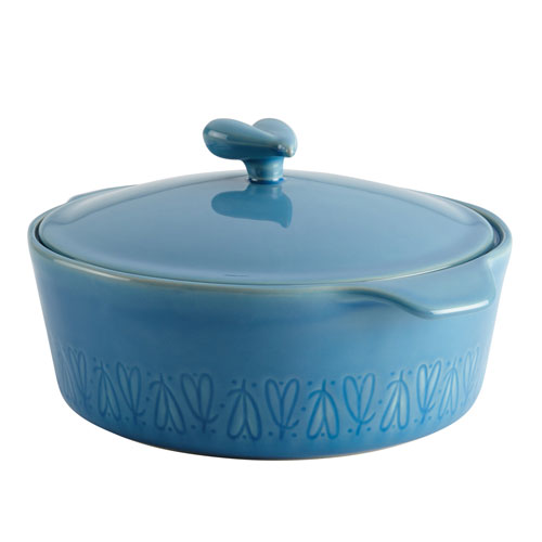 Home Collection Twilight Teal 2.5-Quart Stoneware Round Casserole