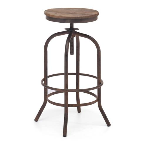 Twin Peaks Distressed Natural Fir Wood Barstool