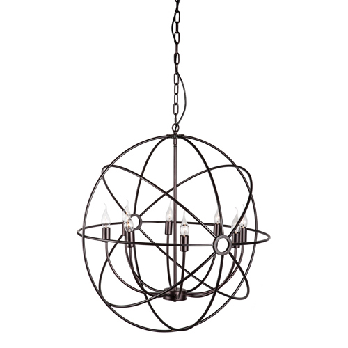 Zuo Modern Contemporary Helvine Rust Eight Light Pendant