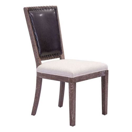 Market Dining Chair Brown and Beige (Set of 2)