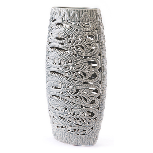 Zuo Modern Contemporary Leaves Tall Vase Gray