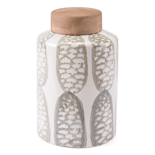 Feather Large Covered Jar Ivory and Sage Grn