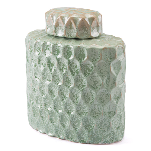Lattice Medium Covered Jar Green