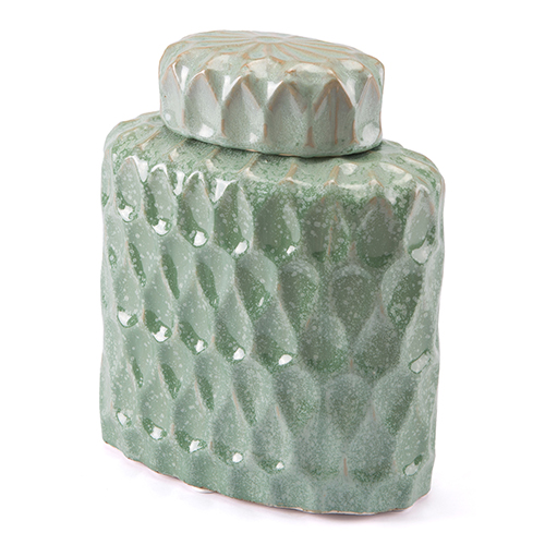 Lattice Small Covered Jar Green