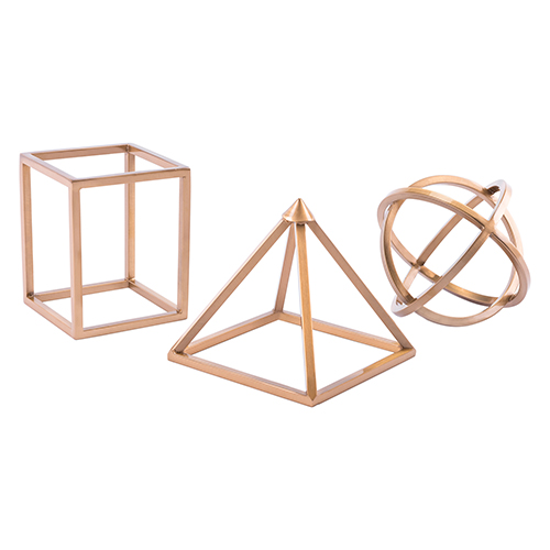 Zuo Modern Contemporary Geo Shapes Set of 3 Antique Brass