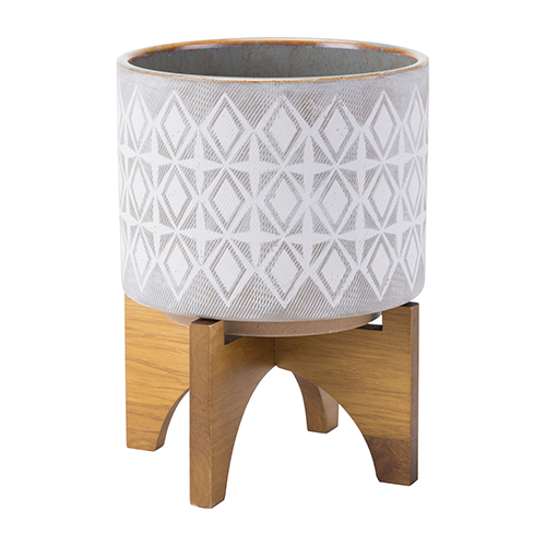 Planter With Wooden Base Medium Gray and Wht