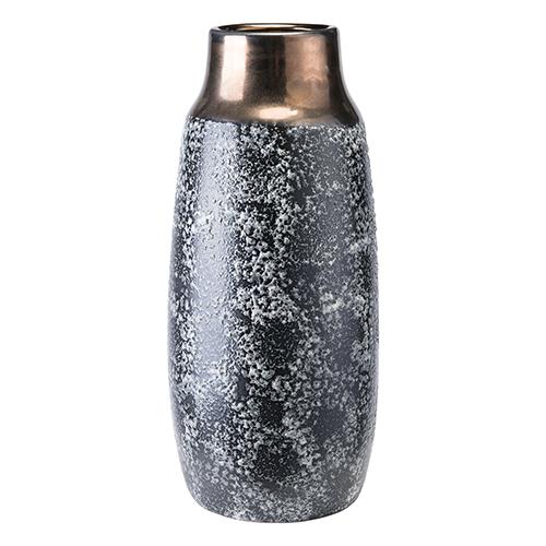 Zuo Modern Contemporary Stoneware Metal Vase Medium Metal and Black Ash
