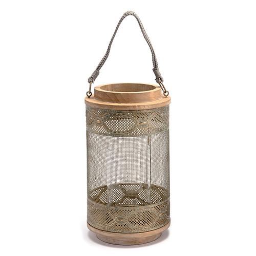 Wood Lantern Large Gray