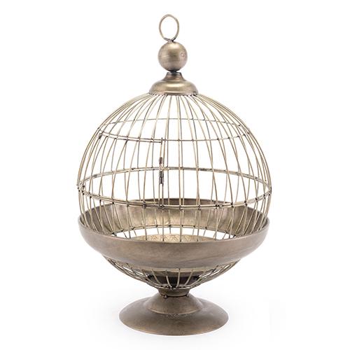 Round Birdcage Candle Holder Gray