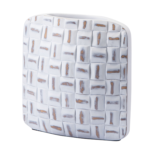 Zuo Modern Contemporary Mosaic Square Vase Small Antique White