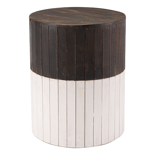 Wooden Round Garden Seat Brn and Wht