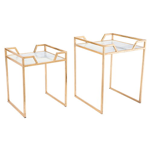 Zuo Modern Contemporary Green Faux Marble Set of 2 Tables Gold