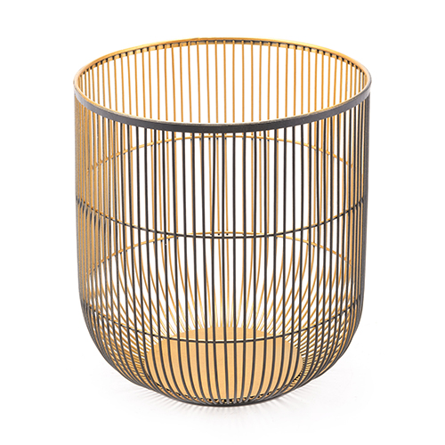 Jaula Candle Holder Large Matte BlackandGold