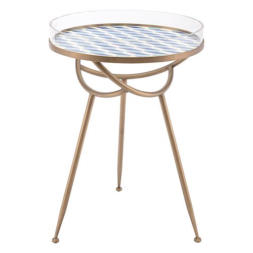 Zuo Modern Contemporary Lattice Round Table Blue