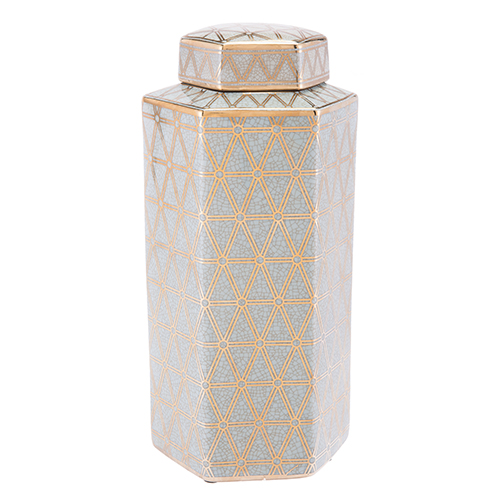 Zuo Modern Contemporary Link Covered Jar Large Gold and Blue