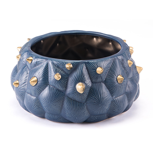 Zuo Modern Contemporary Blue Cactus Bowl Blue and Gold