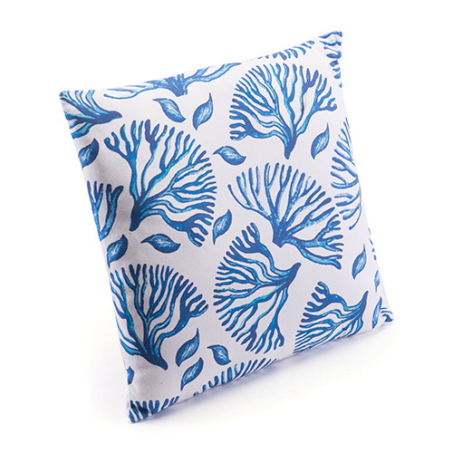 Zuo Modern Contemporary Blue Coral Pillow Blue and White