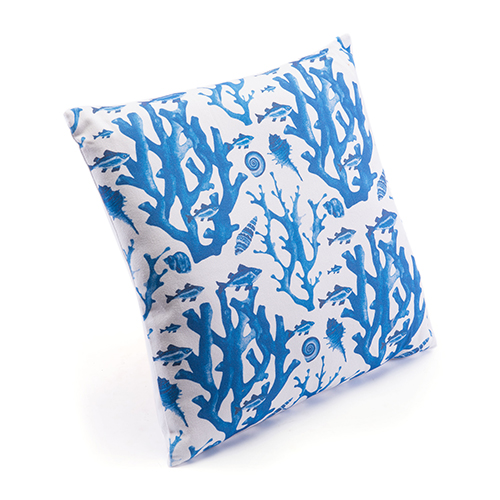 Zuo Modern Contemporary Blue Reef Pillow Blue and White