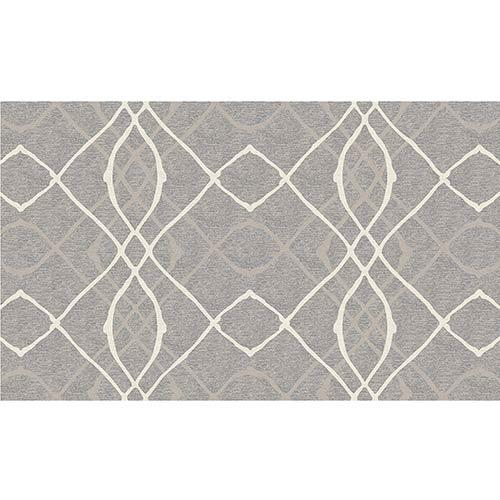 Washable Indoor/Outdoor Stain Resistant Grey Rectangular: 3 Ft. x 5 Ft. Rug Set