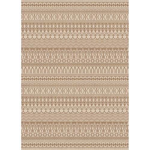 Washable Indoor/Outdoor Stain Resistant Natural Rectangular: 5 Ft. x 7 Ft. Rug Set