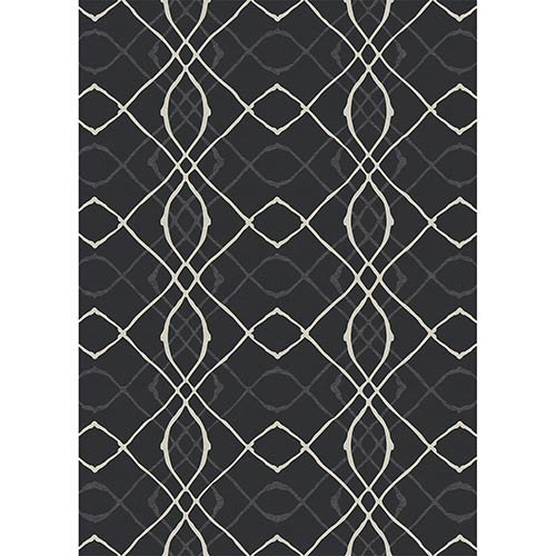 Washable Indoor/Outdoor Stain Resistant Black Rectangular: 5 Ft. x 7 Ft. Rug Set