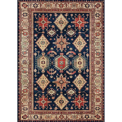 Washable Indoor/Outdoor Stain Resistant Sapphire Rectangular: 5 Ft. x 7 Ft. Rug Set