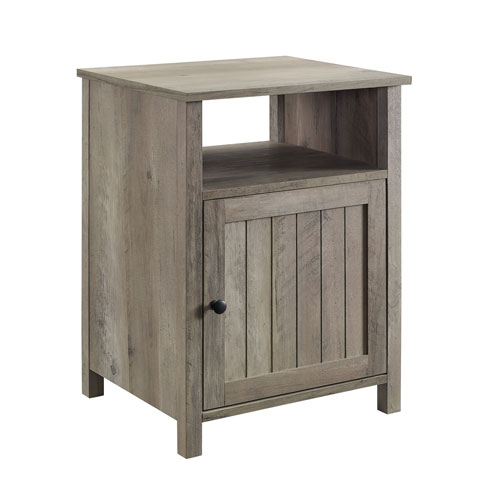 18-Inch Grey Wash Grooved Door Side Table