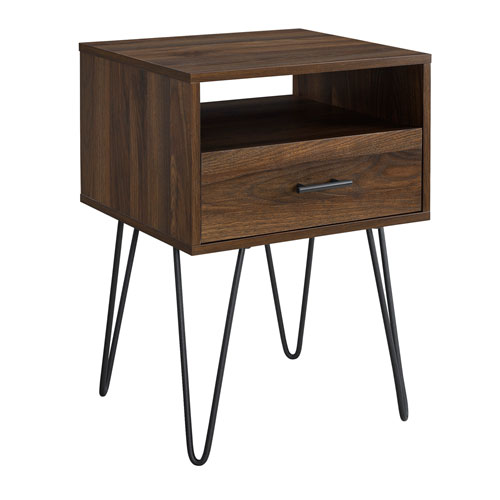 18-Inch Dark Walnut Modern Single Drawer Hairpin Leg Side Table