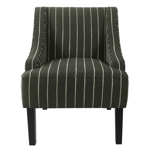 Classic Swoop Black Striped Accent Chair