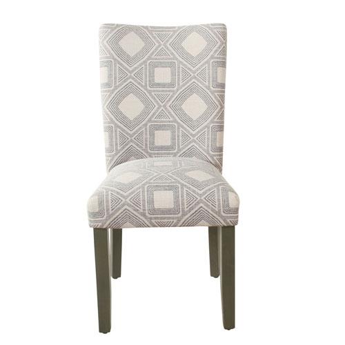 Classic Parsons Gray and Dark Walnut Geometric Dining Chair, Set of 2