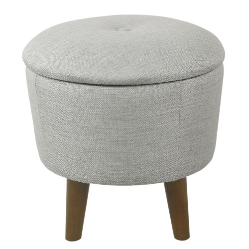 Gray 18-Inch Fabric and Hardwood Ottoman