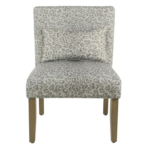 Accent Chair with pillow - Gray Cheetah