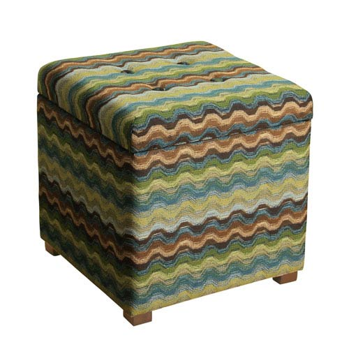 Meadow Lane Storage Ottoman, Blue, Green, And Brown