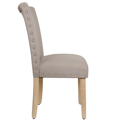Meadow Lane Clic Parsons Chair With Nailhead Trim Tan Set Of 2
