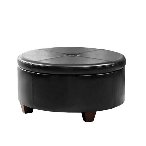 Large Round Storage Ottoman, Black