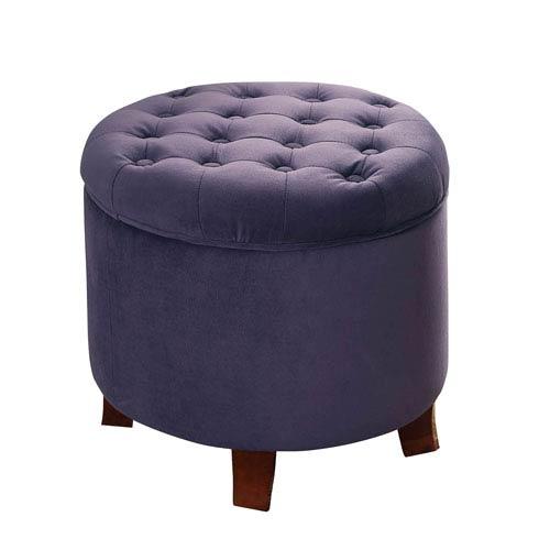 Round Storage Ottoman, Purple