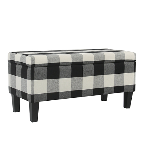 Decorative Black Plaid Storage Bench