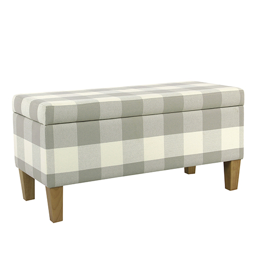 Large Decorative Gray Plaid Storage Bench