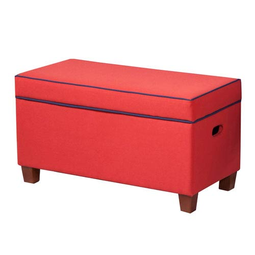 Meadow Lane Storage Bench, Red and Navy