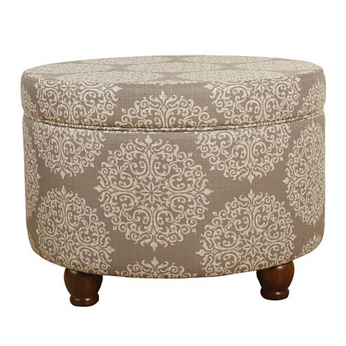 Storage Ottoman - Brown Medallion
