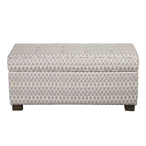 Storage Ottoman, Gray and White