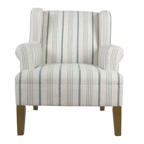 Meadow Lane Emmett Rolled Arm Accent Chair - Blue Calypso Stripe