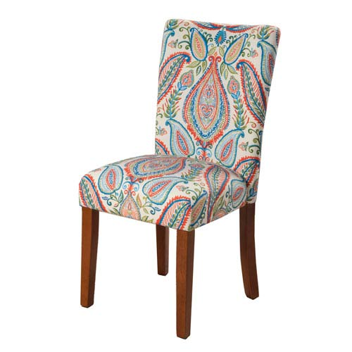 Parsons Chair, Multi Color Paisley Print, Set of Two