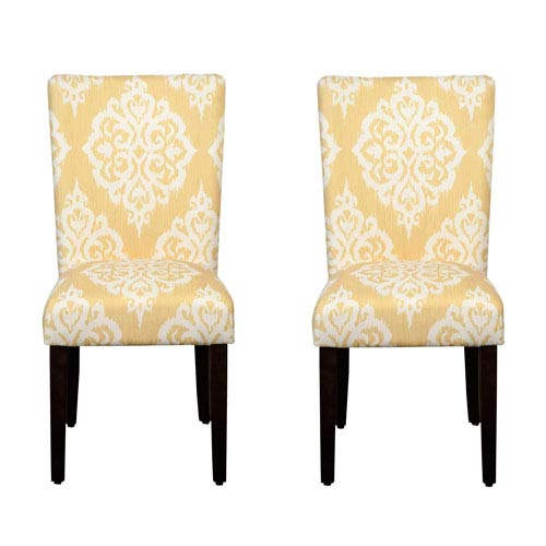 Parsons Chair, Yellow and White, Set of Two