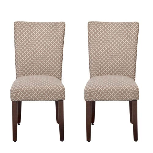 Meadow Lane Parsons Chair, Mocha and Cream, Set of Two