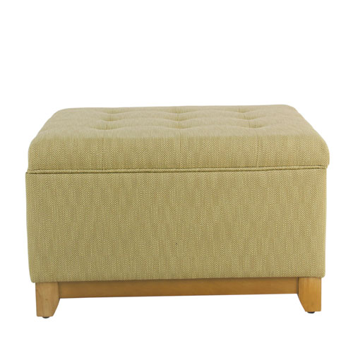 Square Storage Ottoman with Wood Apron - Textured Tan