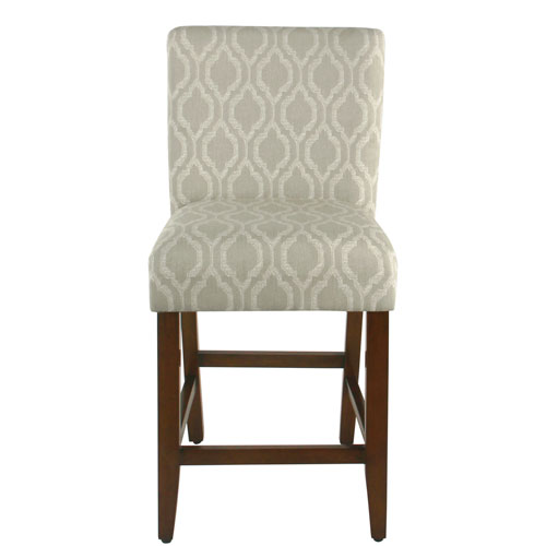 24 Inch Classic Parsons Counter Stool - Tan Geometric