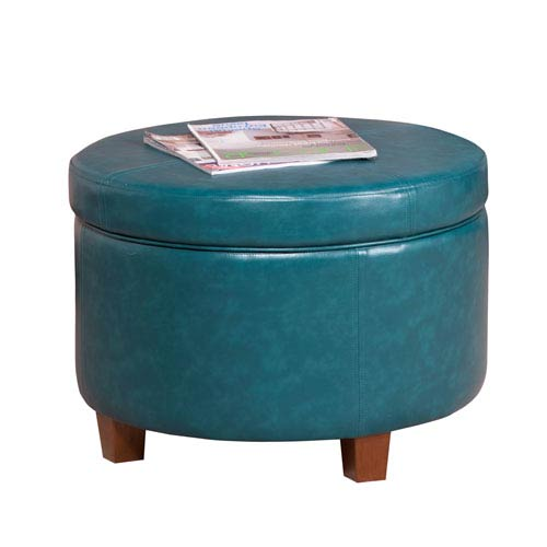 Large Storage Ottoman, Teal