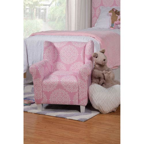 Juvenile Chair, Pink and White Medallion Print